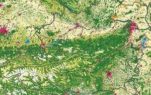 Darstellung der Landnutzung in Österreich auf Basis von CORINE Landcover-Date (2018)