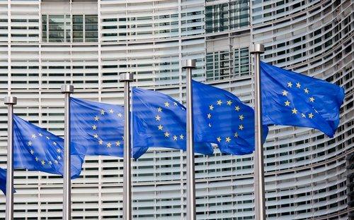 Foto mit EU-Flaggen