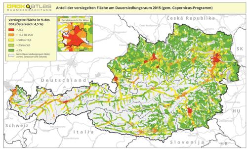 Darstellung der Bodenversiegelung in Österreich auf Basis von COPERNICUS Land HRL-Daten