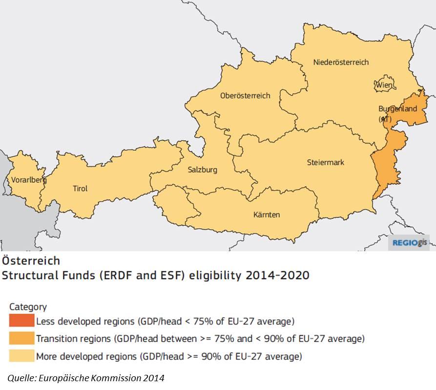 """Bild """"Fördergebietskulisse IWB/EFRE ÖSterreich 2014-2020"""""""