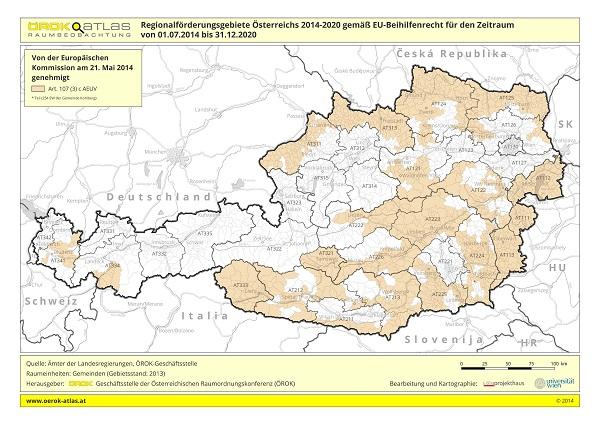 Karte Regionalförderungsgebiete 2014-2020
